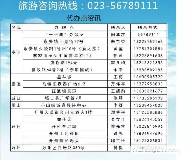 重庆长江三峡旅游一卡办理咨询电话