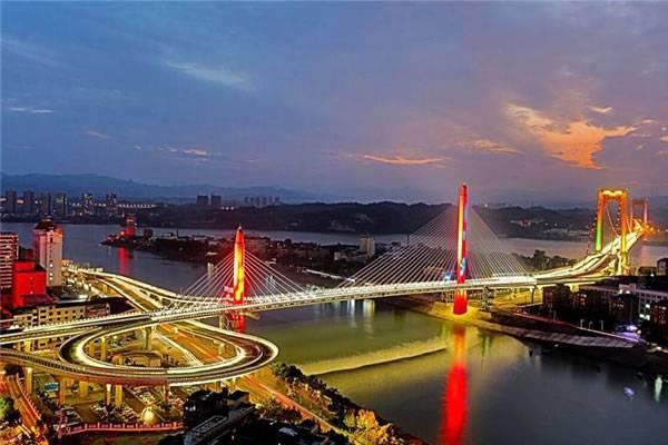 宜昌至喜长江大桥夜景