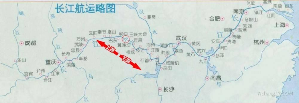 三峡大坝上游下游地图