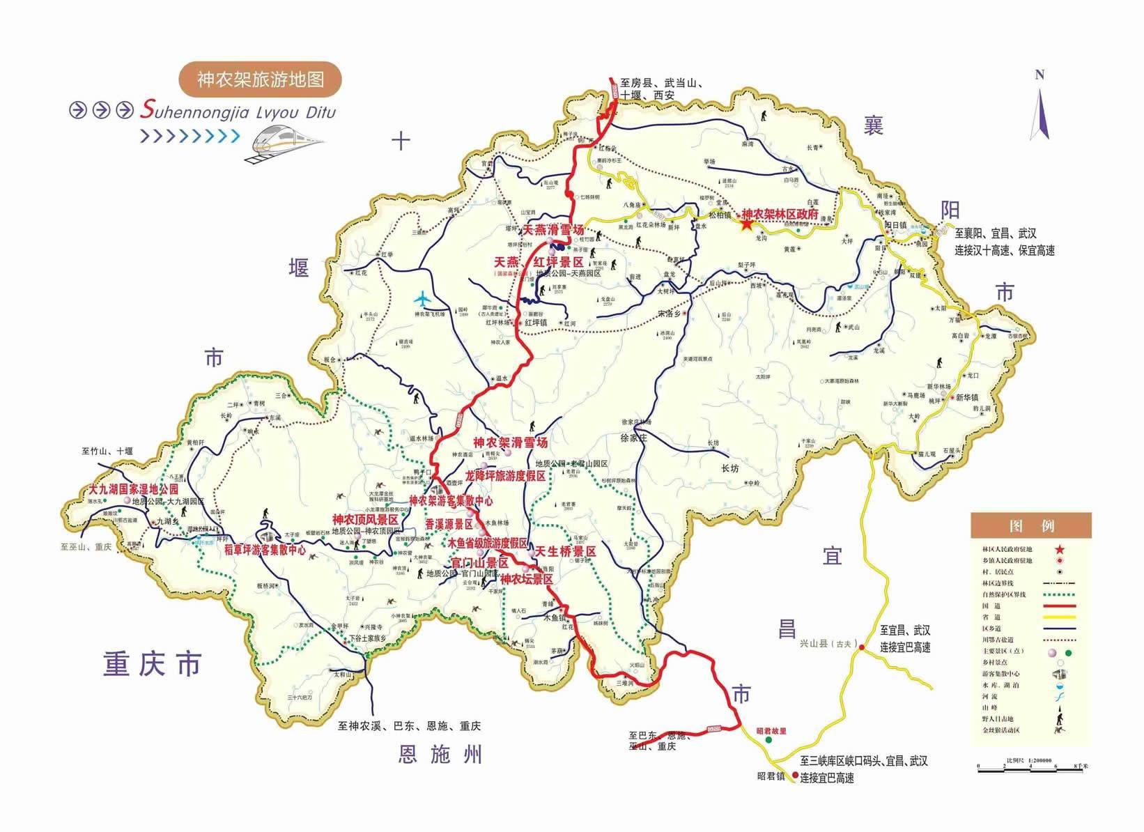 神农架景区分布图